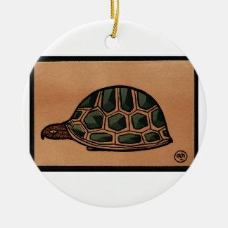 Turtle - Antiquarian, Colorful Book Illustration Ceramic Ornament