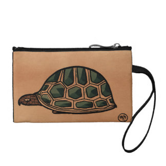 Turtle - Antiquarian, Colorful Book Illustration Change Purse