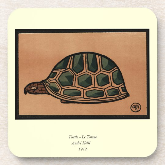 Turtle - Antiquarian, Colorful Book Illustration Coaster