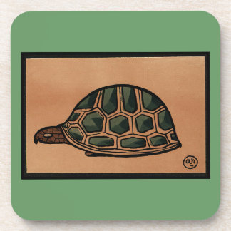 Turtle - Antiquarian, Colorful Book Illustration Coaster