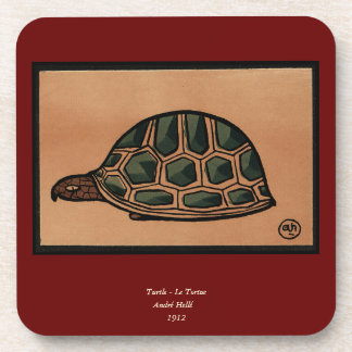 Turtle - Antiquarian, Colorful Book Illustration Drink Coaster