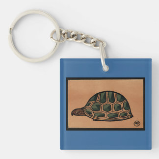 Turtle - Antiquarian, Colorful Book Illustration Keychain