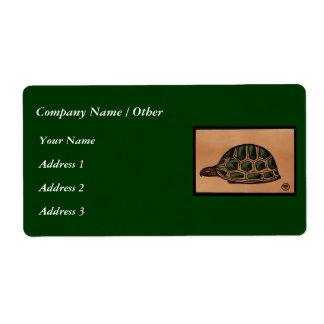 Turtle - Antiquarian, Colorful Book Illustration Label