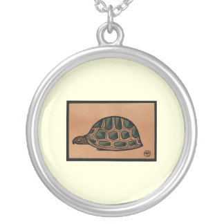 Turtle - Antiquarian, Colorful Book Illustration Round Pendant Necklace