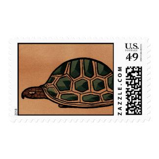 Turtle - Antiquarian, Colorful Book Illustration Postage