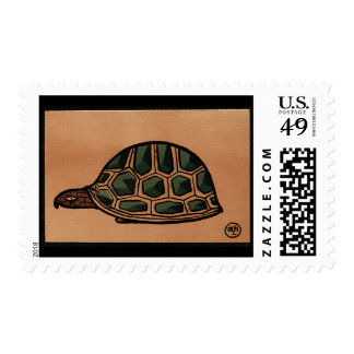 Turtle - Antiquarian, Colorful Book Illustration Postage Stamp