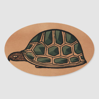 Turtle - Antiquarian, Colorful Book Illustration Oval Sticker