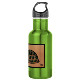 Turtle - Antiquarian, Colorful Book Illustration Water Bottle