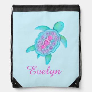 Turtle art kids name aqua pink drawstring bag backpacks