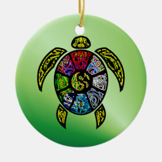 Turtle Ba-Gua Double-Sided Ceramic Round Christmas Ornament