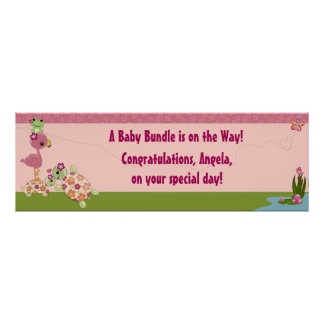 TURTLE Baby Shower Banner Once Upon a Pond OUP Poster