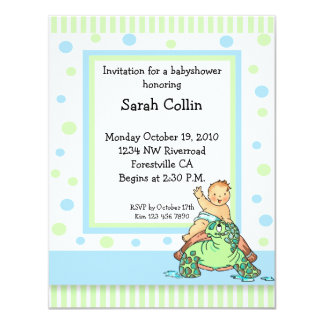 Turtle Baby Shower Blue Boy Invitation