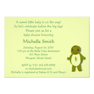 turtle; baby shower 5x7 paper invitation card