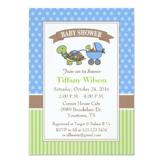 Turtle Baby Shower Invitation blue
