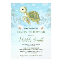 Turtle Baby Shower Invitation Under The Sea Ocean