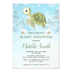 Baby turtle invitations announcements zazzle turtle baby shower invitation under the sea ocean filmwisefo