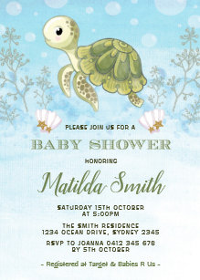 Turtle baby shower invitations zazzle turtle baby shower invitation under the sea ocean filmwisefo