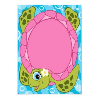 "Turtle Baby Shower Invitations Girls 5"" X 7"" Invitation Card"