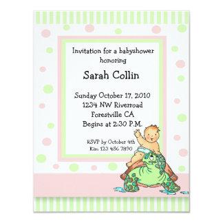 Turtle Baby Shower Pink Girl Invitation