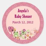 TURTLE Baby Shower round sticker label OUP