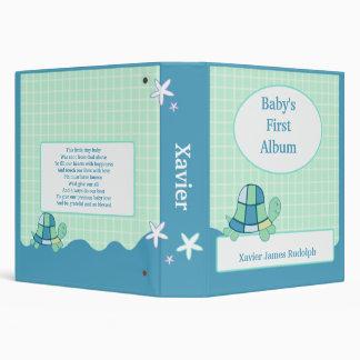 TURTLE Baby's First Photo Album Scrapbook BLUE 3 Ring Binder