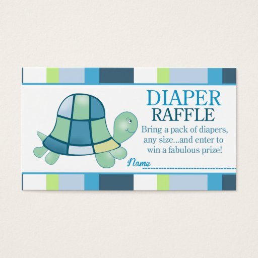 Turtle Bay Baby Shower Diaper Raffle Business Card
