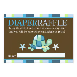 Turtle Bay Baby Shower Diaper Raffle Card