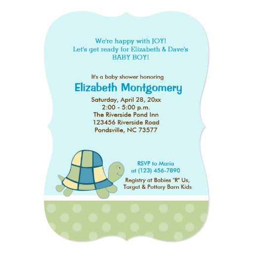 Turtle Bay Baby Shower Invitation Green/Blue