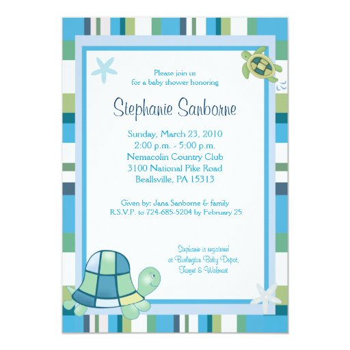 Turtle Bay Blue Stripe Boy/Girl Baby Shower 5x7 Card
