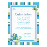 Turtle Bay Blue Stripe Boy/Girl Baby Shower 5x7 Personalized Invite