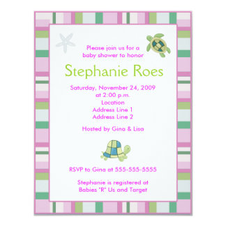 Turtle Bay Girly Stripe Baby Shower 4.25 x 5.5 Personalized Announcement