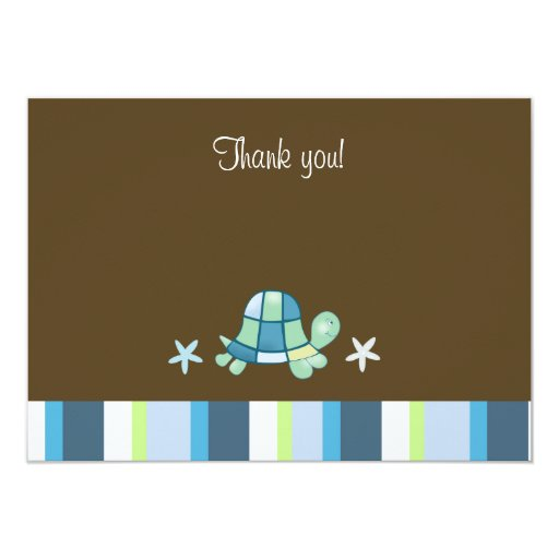Turtle Bay Modern Brown Flat Thank you Note Card