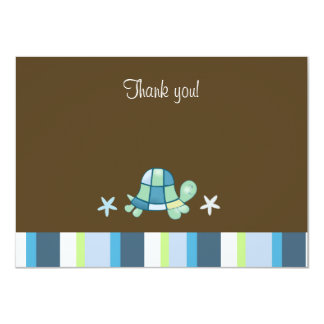 Turtle Bay Modern Brown Flat Thank you Note 4.5x6.25 Paper Invitation Card