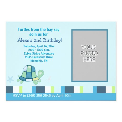 Turtle Bay Photo Birthday Invitation