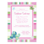 Turtle Bay Pink Stripe Girl Baby Shower 5x7 Custom Announcement