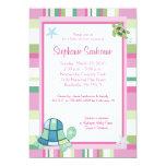Turtle Bay Pink Stripe Girl Baby Shower 5x7 Custom Announcement