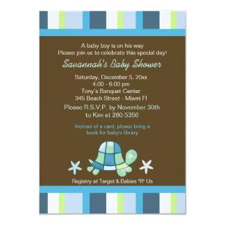 Turtle Bay Stripes Boy Baby Shower Invitation