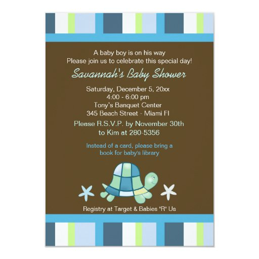 Turtle Bay Stripes Boy Baby Shower Invitation