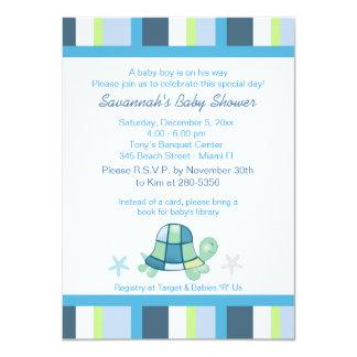 "Turtle Bay Stripes Boy Baby Shower Invitation 4.5"" X 6.25"" Invitation Card"