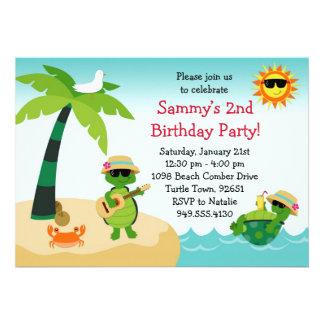 Turtle Beach Birthday Party Invitation