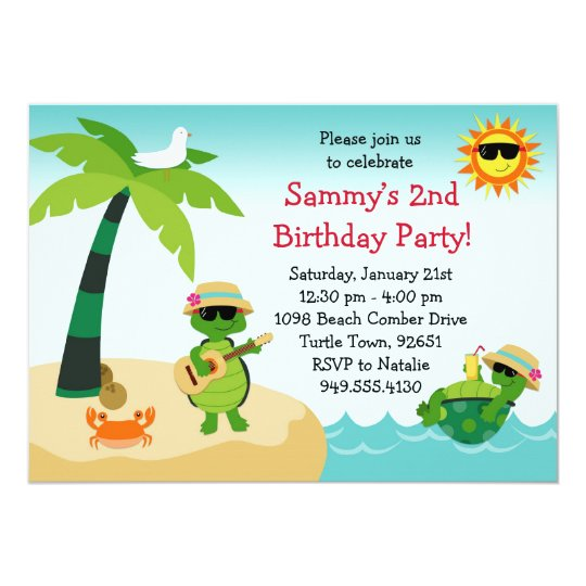turtle beach birthday party invitation zazzle com