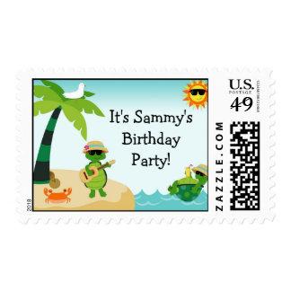 Turtle Beach Birthday Party Postage Stamp