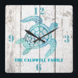"Turtle Beach House Wood Look Wall Clock<br><div class=""desc"">Stylish beach house style wall clock,  with graphics of a white washed distressed wood background and beautiful aqua blue graphics of a decorative sea turtle.  Bold aqua blue numbers denote 12,  3,  6,  and 9 o&#39;clock.  Personalize the aqua blue text to suit your needs.  Makes a great gift idea.</div>"