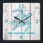 """Turtle Beach House Wood Look Wall Clock<br><div class=""""desc"""">Stylish beach house style wall clock,  with graphics of a white washed distressed wood background and beautiful aqua blue graphics of a decorative sea turtle.  Bold aqua blue numbers denote 12,  3,  6,  and 9 o&#39;clock.  Personalize the aqua blue text to suit your needs.  Makes a great gift idea.</div>"""