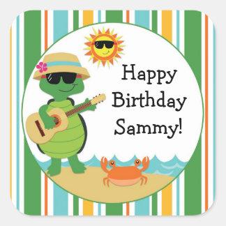 Turtle Beach Luau Birthday Party Sticker