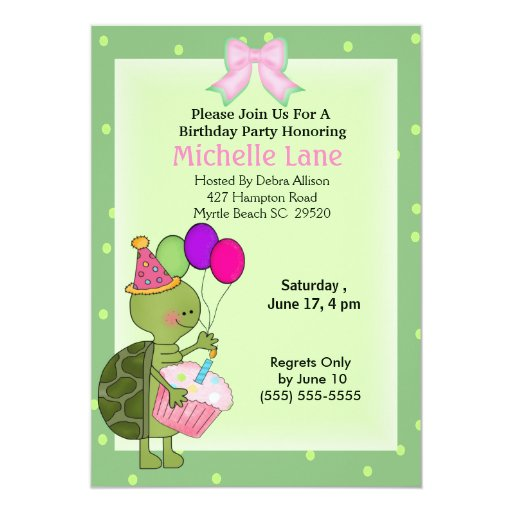 "Turtle  Birthday Invitation 5"" X 7"" Invitation Card"