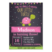 Turtle Birthday Invitation (pink)