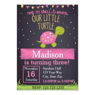 Turtle Birthday Invitation (pink)
