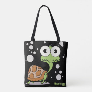 Turtle (Black) Custom Tote Bag