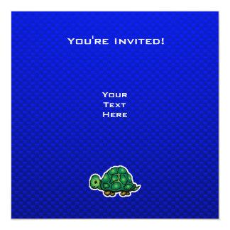 """Turtle; Blue 5.25"""" Square Invitation Card"""